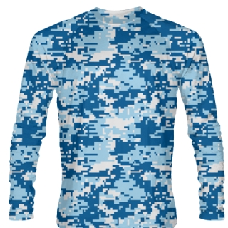 Light Blue Digital Camouflage Shirts Long Sleeved