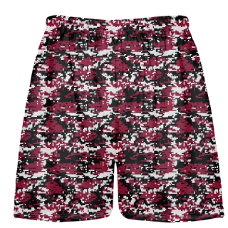Red Black Digital Camouflage Lacrosse Shorts