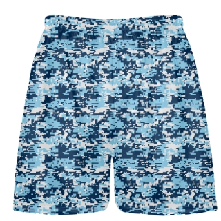 Navy Light Blue Boys Digital Camouflage Lacrosse Shorts