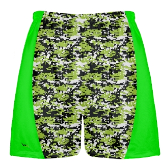 Neon Green Digital Camouflage Lacrosse Shorts