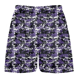 Purple Lacrosse Shorts Digital Camouflage