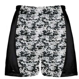 Silver Black Digital Camouflage Lacrosse Shorts