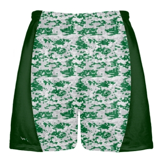 Dark Green Gray Digital Camouflage Lacrosse Shorts