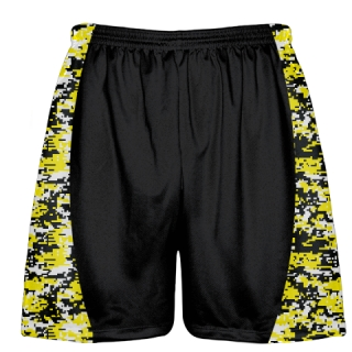 Yellow Digital Camouflage Lacrosse Shorts