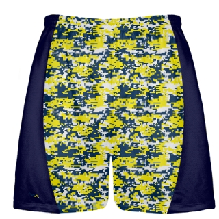 Navy Blue Yellow Digital Camouflage Lacrosse Shorts