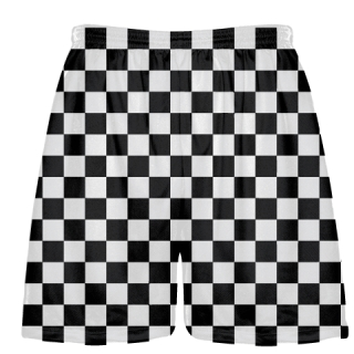 Black and White Checker Board Lacrosse Shorts