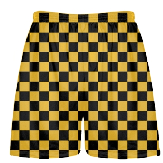 Checker Board Lacrosse Shorts Gold and Black
