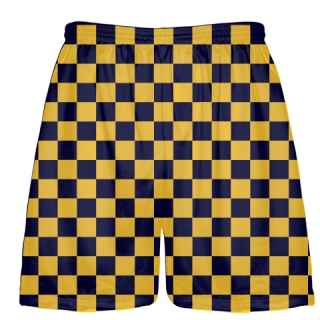 Checker Lacrosse Shorts Gold and Navy Blue