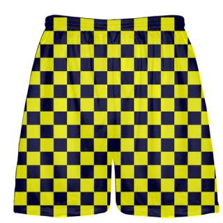 Navy Blue Yellow Checkerboard Shorts
