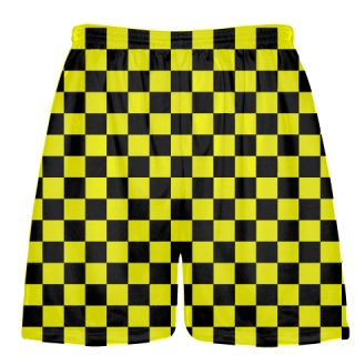 Checkered Shorts Black and Yellow