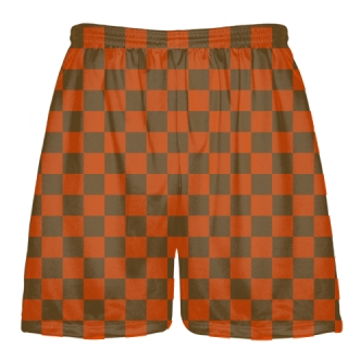 Checker Board Lacrosse Shorts Orange and Brown