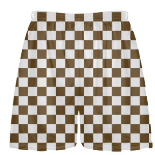 Brown and White Checker Board Shorts