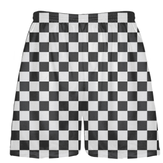 Checker Board Lacrosse Shorts Charcoal and White