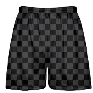 Checker Board Lacrosse Shorts Charcoal Black