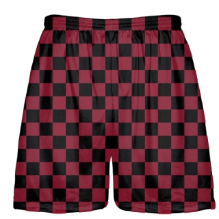 Cardinal Red Black Lacrosse Shorts Checker Board
