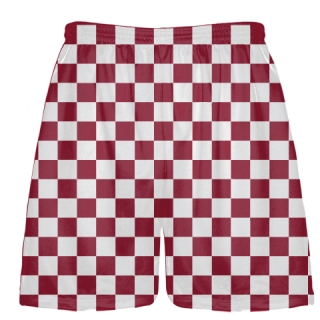 Cardinal Red and White Lax Shorts Checker Board