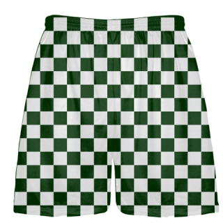 Forest Green and White Checker Board Shorts