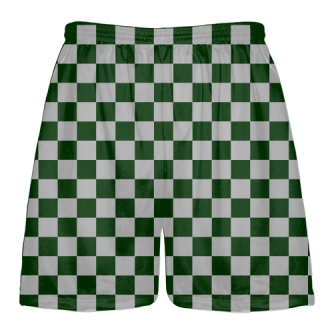 Dark Green Silver Checker Board Shorts