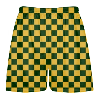 Checker Board Shorts Forest Green Gold