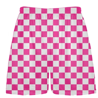 Fluorescent Pink Checker Board Shorts
