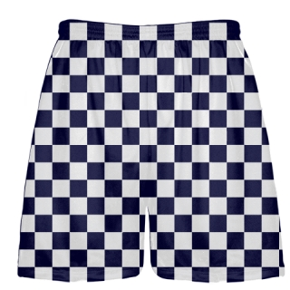 Navy White Checker Board Shorts