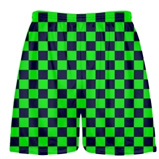 Neon Green Navy Checker Board Shorts