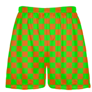 Orange and Green Checker Board Shorts