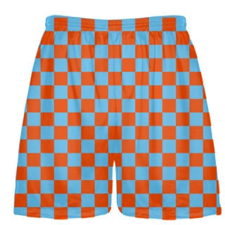 Orange Light Blue Checker Board Shorts