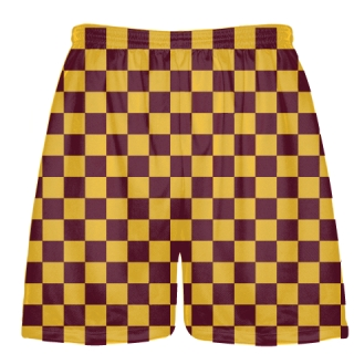 Maroon and Gold Checker Board Shorts