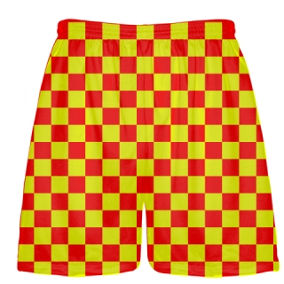 Red Yellow Checker Board Shorts