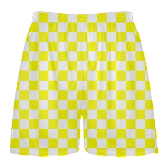 Yellow White Checker Board Lacrosse Shorts