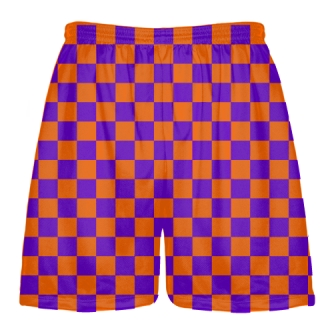 Purple and Orange Checker Board Shorts