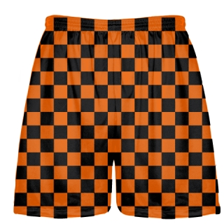 Checkerboard Shorts Orange Black