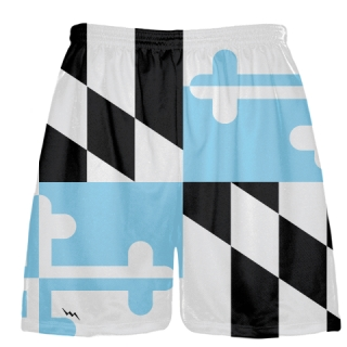 Black Light Blue Maryland Flag Shorts