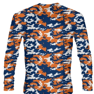 Blue Orange Camouflage Long Sleeve Lacrosse Shirts