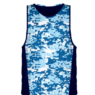 Blue Digital Camouflage Basketball Jerseys