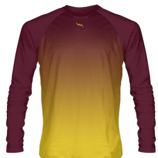 Maroon Ice Hockey Shirts Long Sleeved