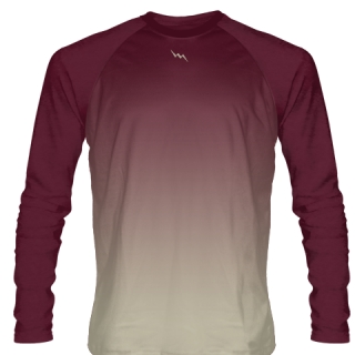 Maroon and Gold Long Sleeve Football Shirts