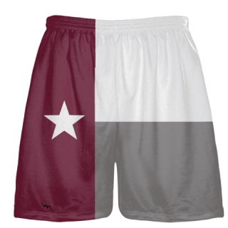 Maroon Texas Flag Shorts