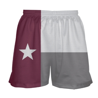 Girls Maroon Texas Flag Shorts