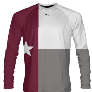 Maroon Texas Flag Long Sleeve Shirts