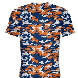 Navy Blue Orange Camouflage Basketball Shooting Shirts