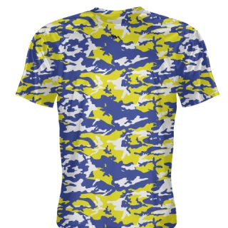 Royal Blue Yellow Camouflage Basketball Shooter Shirts