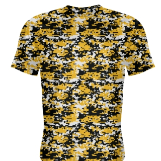 Gold Black Digital Camouflage Basketball Shooter Shirts