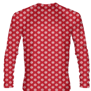 Red Christmas Shirts Long Sleeve Snowflakes