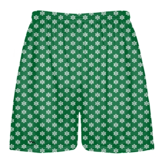 Green Snowflake Shorts - Christmas Lacrosse Shorts