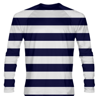 Navy Blue White Striped Long Sleeve Shirt