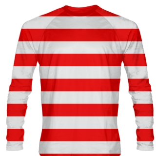 Wheres Waldo Costume - Long Sleeve Red White Stripe Shirts