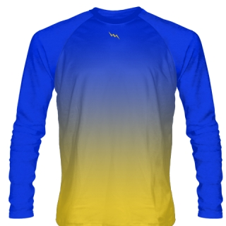 Blue Gold Long Sleeve Basketball Shooting Shirt