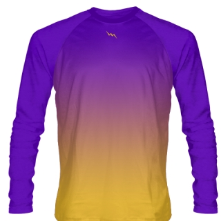 Purple Gold Shooting Shirt Basketball Long Sleeved